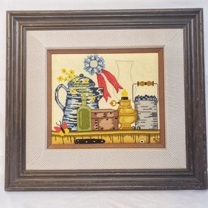 Vintage Handmade Embroidered Blue Ribbon Artwork